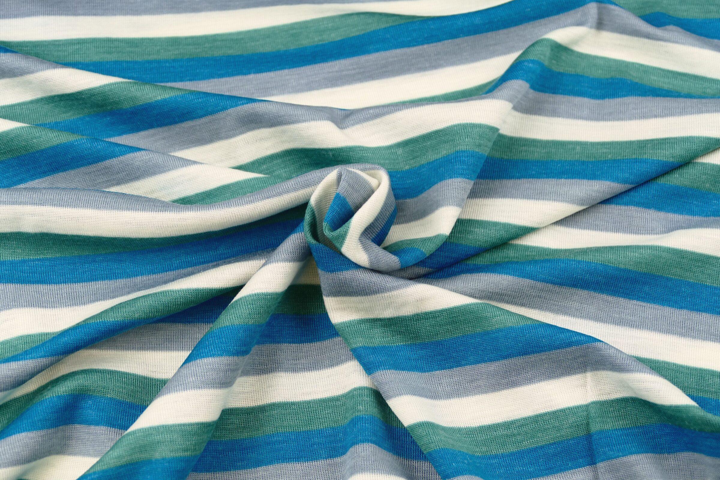Wolle Lyocell Blockstreifen naturweiß rauchblau dusty mmint karibikblau